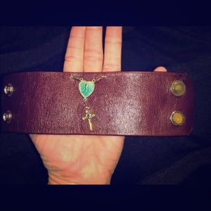 Upcycled Cross Leather Cuff Bracelet